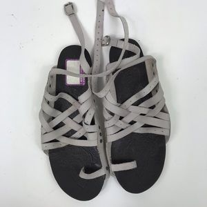 Free People gray leather strappy sandals gladiator